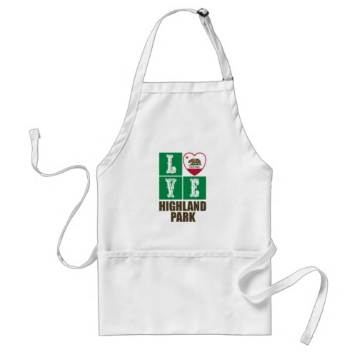 California Republic State Flag Heart Love Highland Park Adult Apron