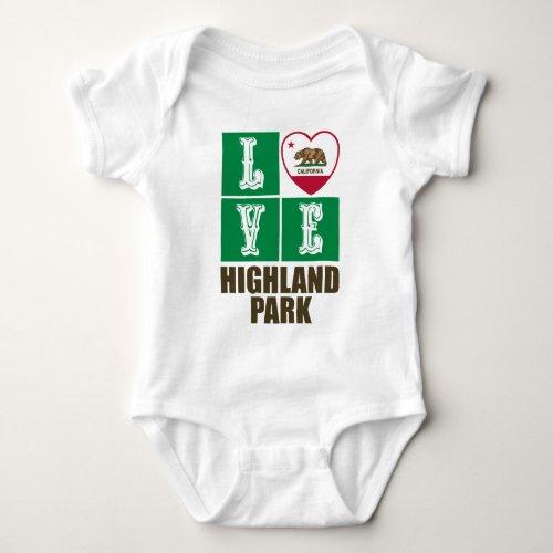 California Republic State Flag Heart Love Highland Park Baby Bodysuit