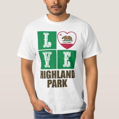 California Republic State Flag Heart Love Highland Park T-Shirt