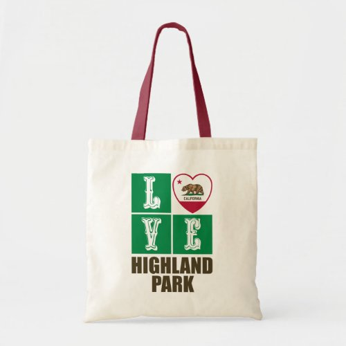 California Republic State Flag Heart Love Highland Park Tote Bag