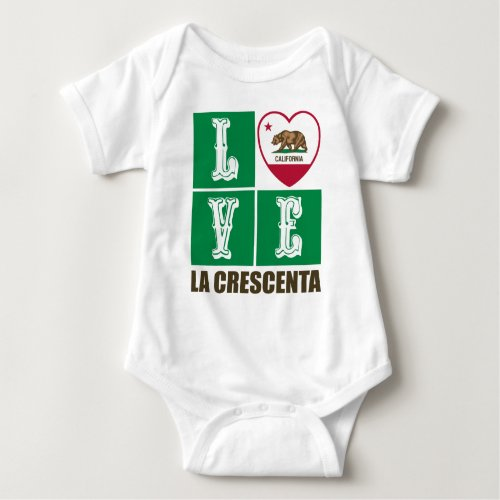 California Republic State Flag Heart Love La Crescenta Baby Bodysuit