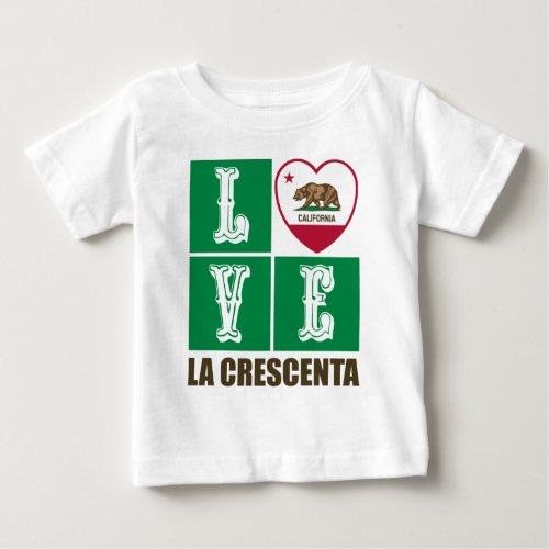 California Republic State Flag Heart Love La Crescenta Baby T-Shirt