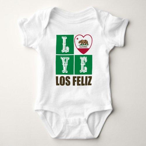 California Republic State Flag Heart Love Los Feliz Baby Bodysuit