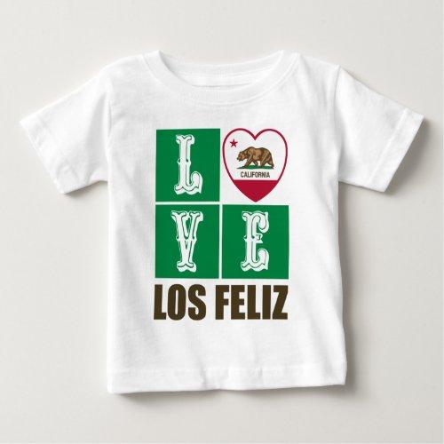 California Republic State Flag Heart Love Los Feliz Baby T-Shirt