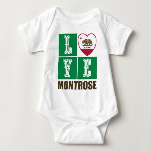 California Republic State Flag Heart Love Montrose Baby Bodysuit