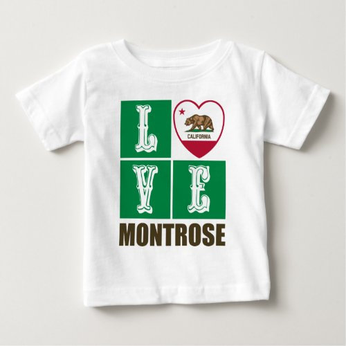 California Republic State Flag Heart Love Montrose Baby T-Shirt