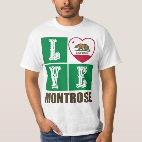 California Republic State Flag Heart Love Montrose T-Shirt