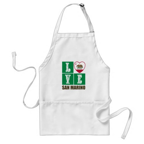 California Republic State Flag Heart Love San Marino Adult Apron
