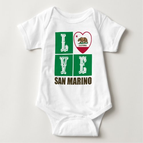 California Republic State Flag Heart Love San Marino Baby Bodysuit
