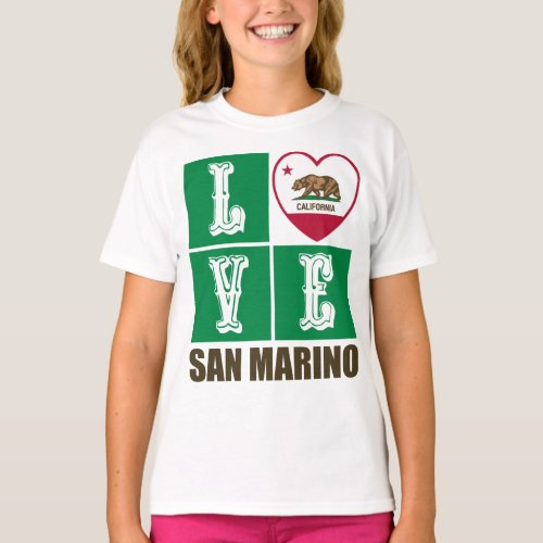 California Republic State Flag Heart Love San Marino T-Shirt
