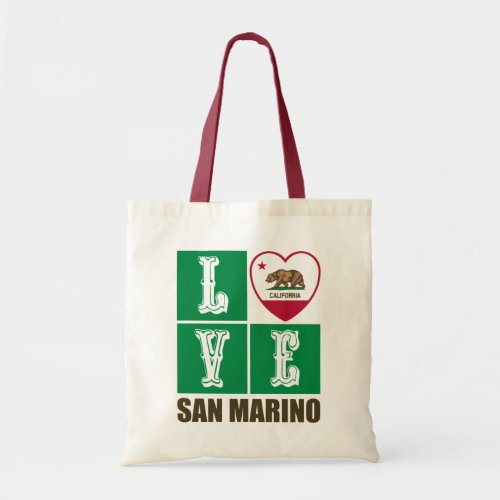 California Republic State Flag Heart Love San Marino Tote Bag