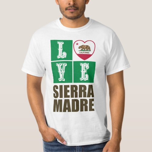 California Republic State Flag Heart Love Sierra Madre T-Shirt
