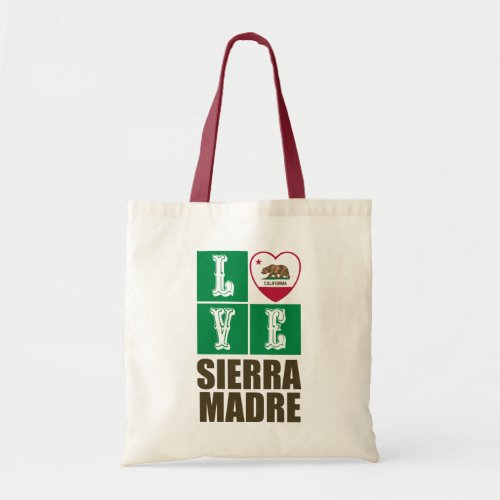 California Republic State Flag Heart Love Sierra Madre Tote Bag