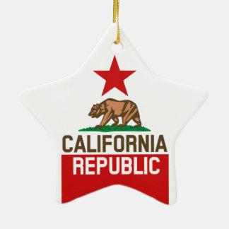 CALIFORNIA REPUBLIC State Flag Large Star Design Ceramic Ornament