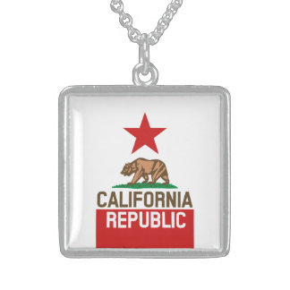 CALIFORNIA REPUBLIC State Flag Large Star Design Sterling Silver Necklace