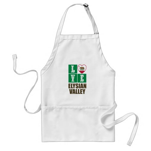California Republic State Flag Heart Love Elysian Valley Adult Apron