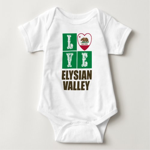 California Republic State Flag Heart Love Elysian Valley Baby Bodysuit