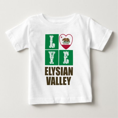 California Republic State Flag Heart Love Elysian Valley Baby T-Shirt