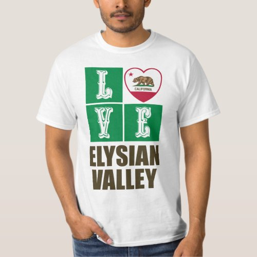 California Republic State Flag Heart Love Elysian Valley T-Shirt