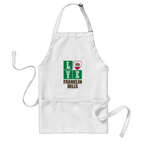 California Republic State Flag Heart Love Franklin Hills Adult Apron