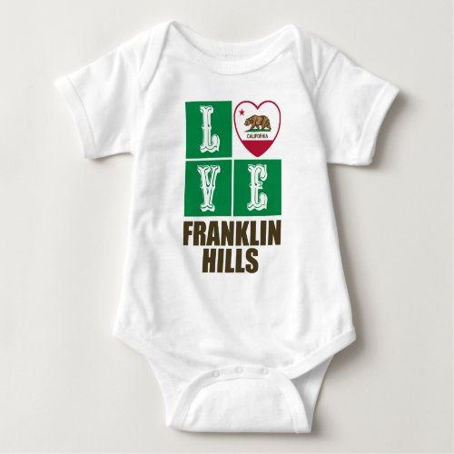 California Republic State Flag Heart Love Franklin Hills Baby Bodysuit