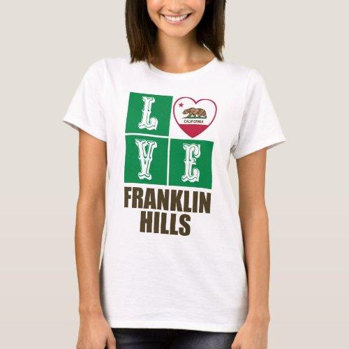 California Republic State Flag Heart Love Franklin Hills T-Shirt