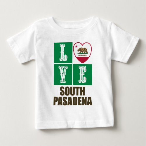 California Republic State Flag Heart Love South Pasadena Baby T-Shirt