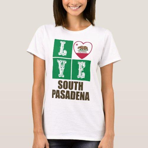 California Republic State Flag Heart Love South Pasadena T-Shirt