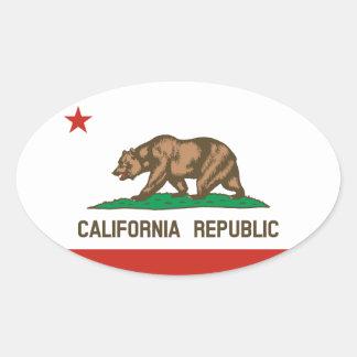 California Republic State Flag Oval Sticker