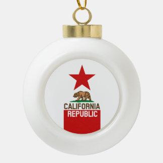 CALIFORNIA REPUBLIC State Flag Red Star Ceramic Ball Christmas Ornament