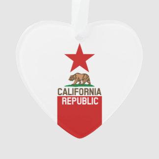 CALIFORNIA REPUBLIC State Flag Red Star Ornament