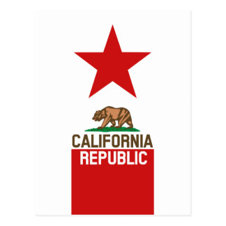 CALIFORNIA REPUBLIC State Flag Red Star Postcard