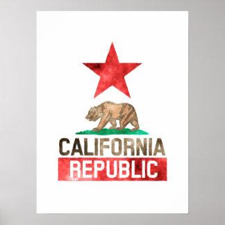 California  Republic Watercolor Poster