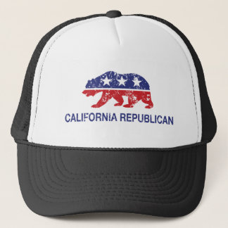 California Republican Bear Distressed Trucker Hat