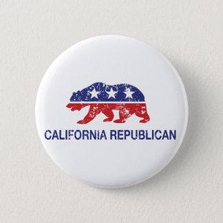 California Republican Political Bear Distressed Button