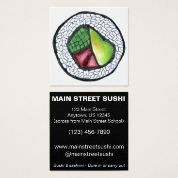 Beach Themed California Roll Sushi Japanese Food Restaurant Square Business Card