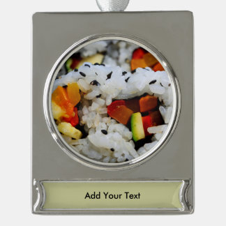 California Roll Sushi Silver Plated Banner Ornament
