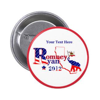 California Romney y botón de Ryan 2012 - personali Pin