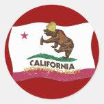 California sabe ir de fiesta el oso pegatinas redondas