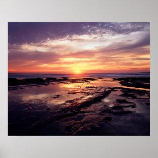 California, San Diego, acantilados de la puesta Póster
