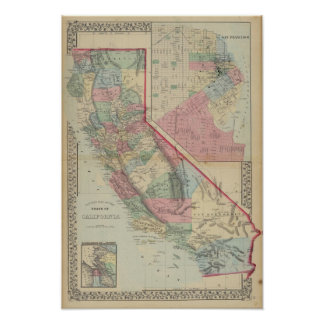 California, San Francisco Map by Mitchell Poster