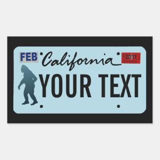 California Sasquatch License Plate Rectangular Sticker