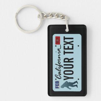 California Sasquatch License Plate Single-Sided Rectangular Acrylic Keychain