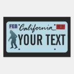 California Sasquatch License Plate Rectangle Sticker