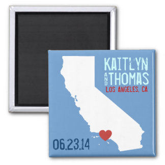 California Save the Date - Customizable City 2 Inch Square Magnet