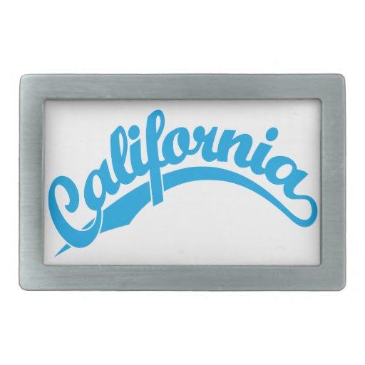 California Script logo in cyan Rectangular Belt Buckles
