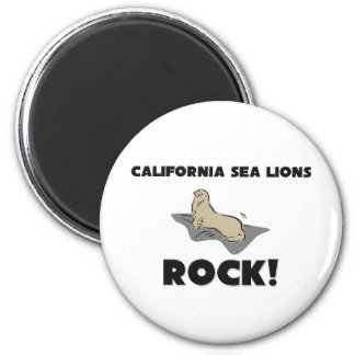 California Sea Lions Rock 2 Inch Round Magnet