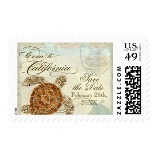 California Sea Turtle Modern Coastal Ocean Beach Postage