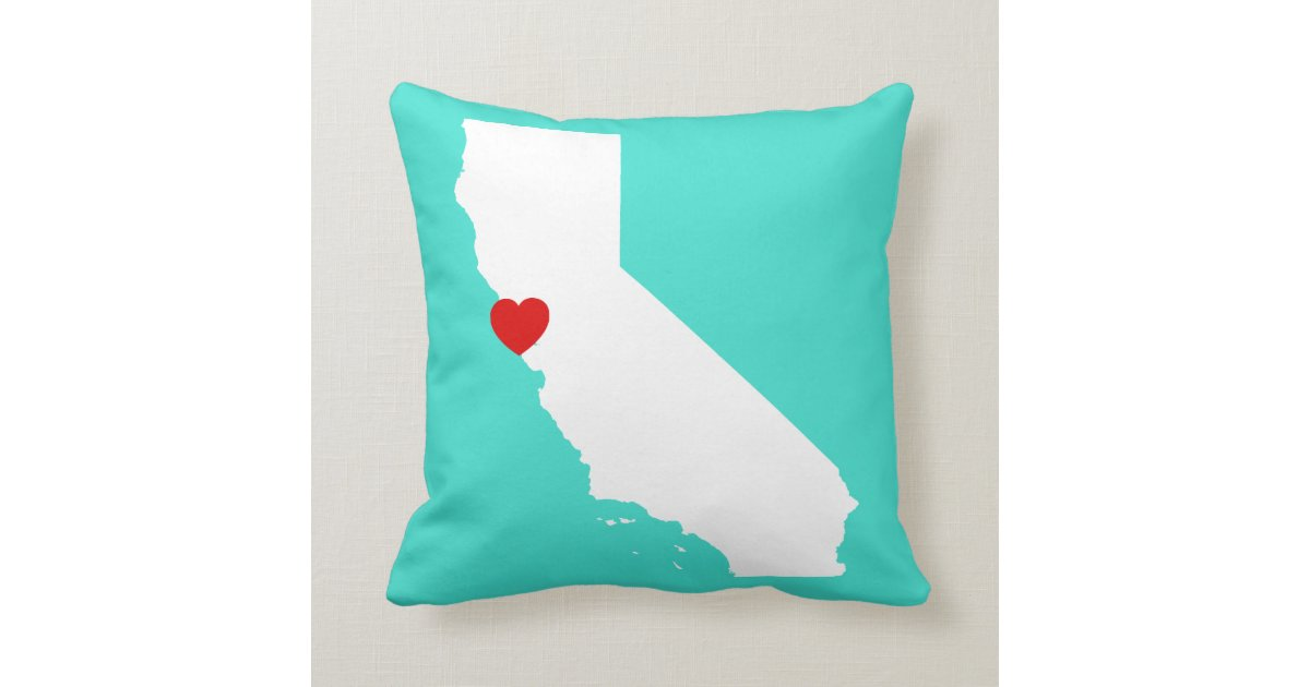 Red Heart Decorative Pillow : California Shape with Red Heart Throw Pillow Zazzle