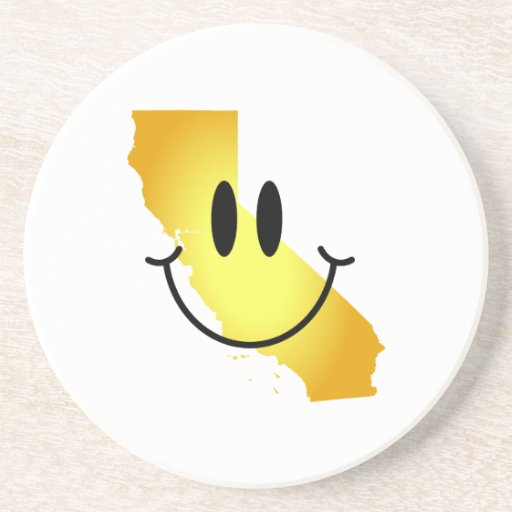 California Smiley Face Drink Coasters